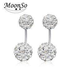 wholesale!! MOONSO Shamballa Round Ball Beads Crystal Dangle Long Earring Fashion Women Jewelry KE1902