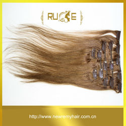 "20"" 7pcs real virgin remy hair white clip hair extensions double weft"