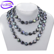 12mm good quality peacock freshwater natural wholeslae coin pearl necklace