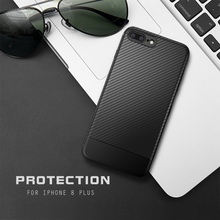 New Stylish Carbon Fiber Texture Soft TPU Phone Case For Apple iPhone 8 Plus , Back Cover Cases For iPhone8