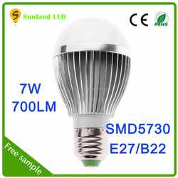 Chinese manufacturers Energy Saving Long Operating Life E27 led bulb, SMD5730 7w led bulb light box packaging design