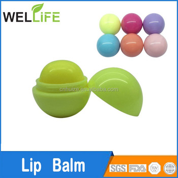 Cute Color Mini Ball Shape Lip Balm 12g and 6.5g made in Ningbo Huize