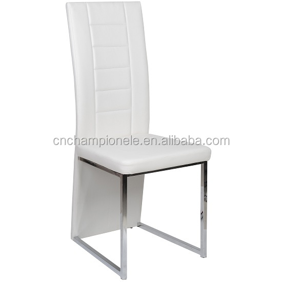 Cheap modern wholesale metal dining chair in white leather