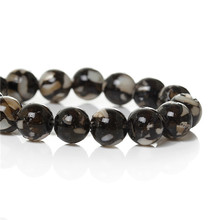 Freshwater Shell Resin Loose Beads Round Crushed Black About 8mm Dia, Hole:Approx 1.7mm,40.5cm long