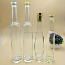 Slim neck plain glass liquor bottle factory manufacturing