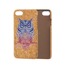 Cover for iPhone 7 Ultra Slim Cork Wood PU Leather Retro Wooden Phone Case Print Pattern Fundas Back Cover