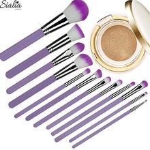 Sialia 2018 Latest Makeup Brush Set 12 Pieces Cosmetic Brushes With Colorful Hair For Powder Blush Foundation Blending