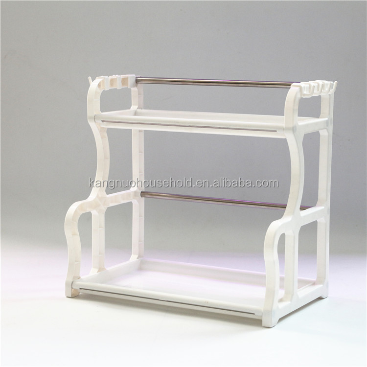 Hot sell Plastic storage, plastic shelf with stainless bar, kitchen storage shelf