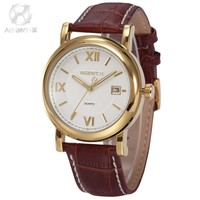 Brand AGENTX Auto Date Analog Stainless Steel Case Brown Leather Band Male Clock Men Quartz Dress Watch