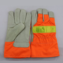 worker <strong>safety</strong> on the road bright orange color leather fluorescent gloves