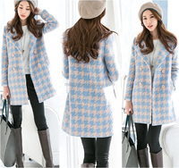 mid length Houndstooth overcoat,lady korean style woolen Houndstooth coat,Houndstooth jackets Houndstooth blazer for women