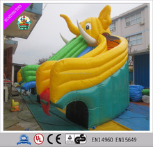 Cartoon theme elephant giant inflatable water slide l for adlut with pool