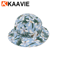 Custom ladies women full floral flower printing 100% polyester cricket bowler fashion summer topi bucket hat