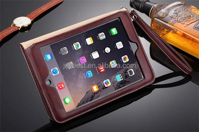 Factory OEM/ODM Leather flip handle smart cover case for ipad mini 4 Card Holder