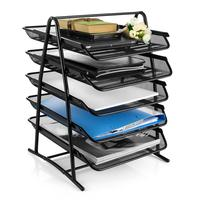 Wideny office wire metal mesh 5 Tier Stackable Desk Document Letter Organizer file Trays