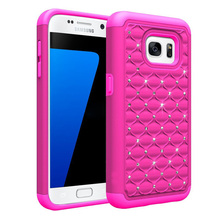 C&T Dual Layer Studded Rhinestone Crystal Bling Hybrid Armor Protective Case Cover For Samsung Galaxy S7