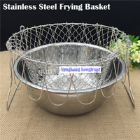factory direct stainless steel french frying baskets chef foldable basket