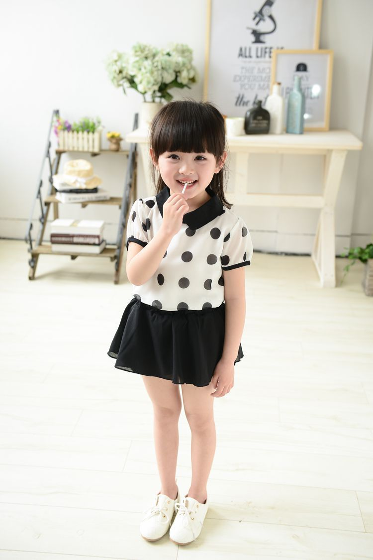 Baby girls clothing set girl clothes summer kids clothes dot printing new roupas infantis menina fashion children's clothing