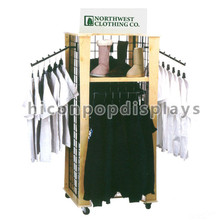 Grid Wall Wooden Frame Garment Wholesale Rack Movable Apparel Display Clothes Store Fixtures