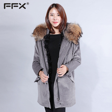 Factory wholesale warm corduroy long coat real raccoon hooded coat