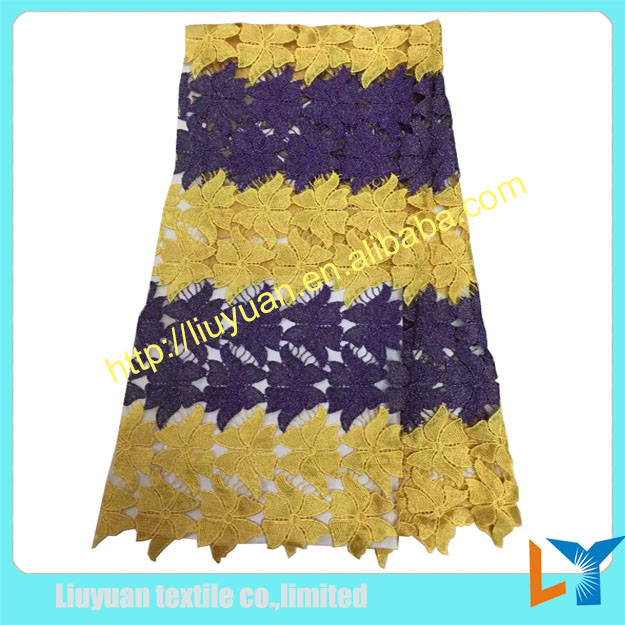 2016 newest gold hot water soluble embroidery top quality nigeria bangkok lace fabric for african