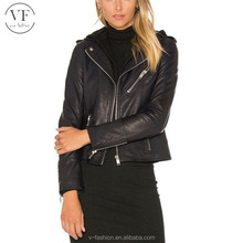 High quality black lady leather jacket with hood
