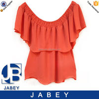 Favoured price OEM service off shoulder chiffon blouse for lady