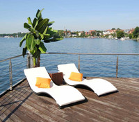 Modern artistic designed stackable outdoor sun bed furniture rattan pool lounge chair in s shape sofa sleeper mechanism