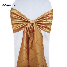 Crushed Gold Taffeta Crinkle Chair Sash for banquet wedding chair ties