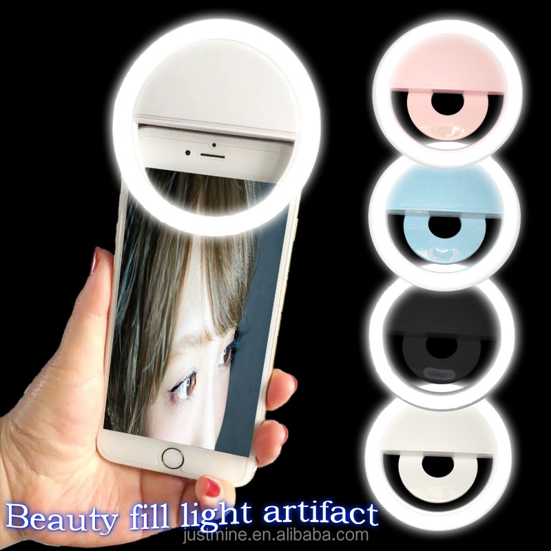 New Mobile phone Accessories Rechargeable Selfie Portable LED Ring Fill Light Camera for iPhone Android Phone