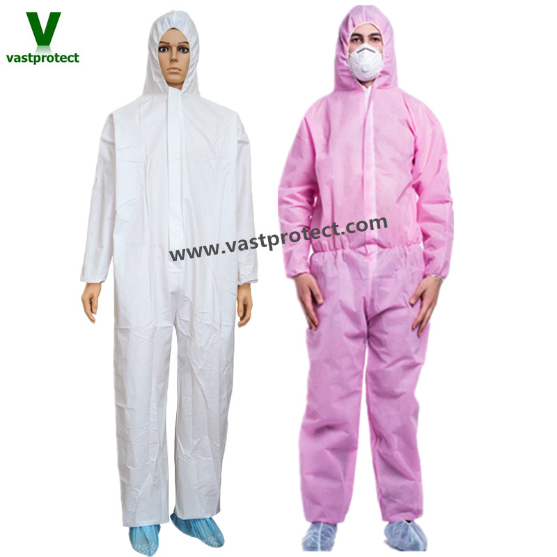 industrial waterproof white pink disposable overalls with double zip