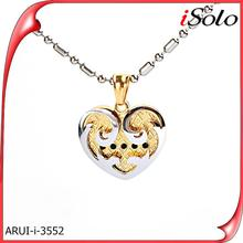 Gold plated 925 silver pendant with heart pendant in Pandant&Charms
