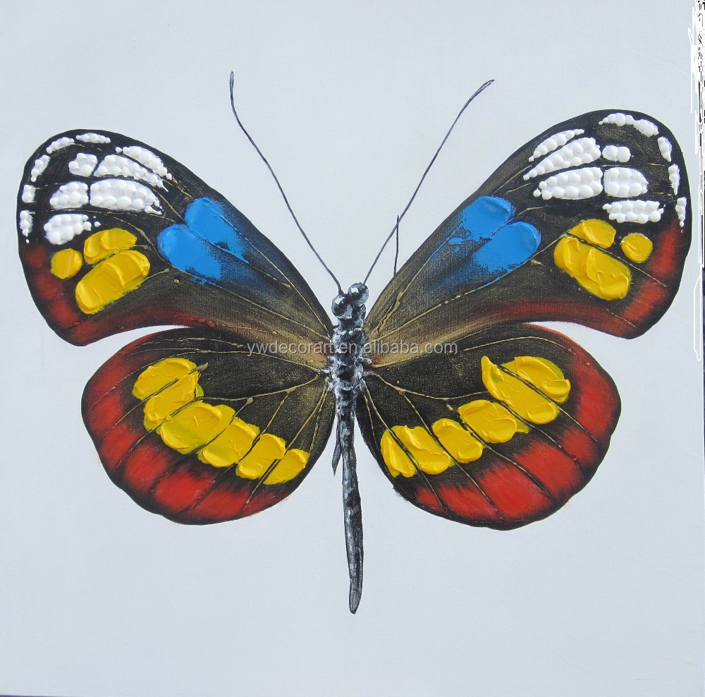 Hand painted cartoon butterfly oil painting for wall decoration