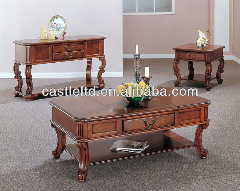 CF30048 High grade Carved Wood Coffee End Sofa Table & Luxury Wood Furniture & Akzonobel Paint Furnitu