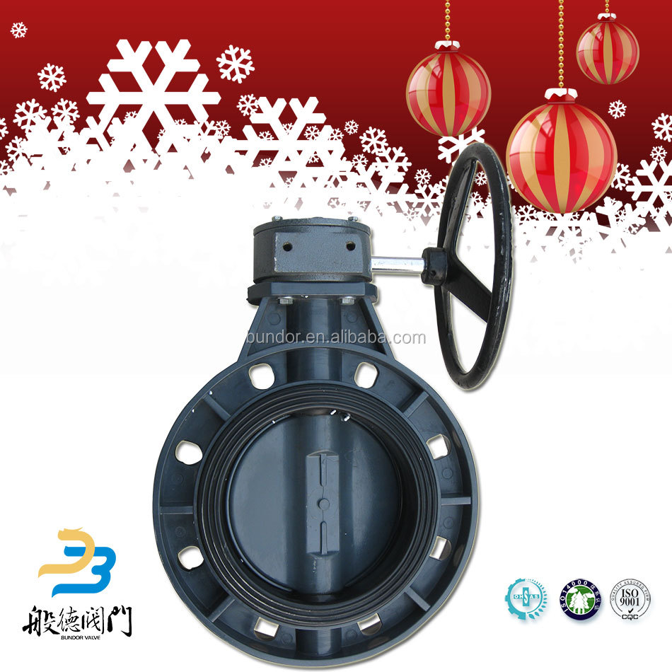 Wholesale gear operators/electric or pneumatic actuator plastic pvc butterfly valve