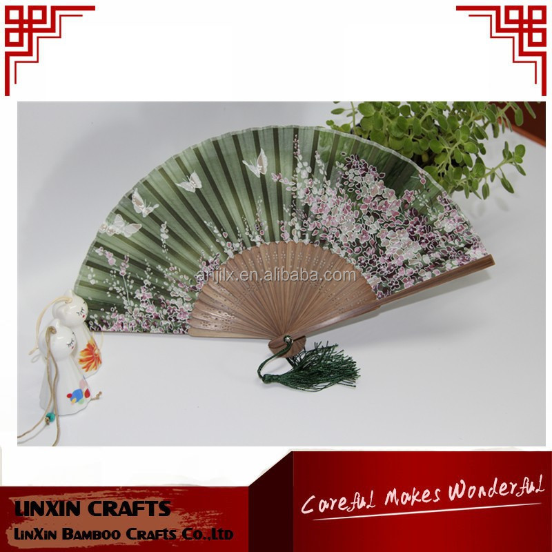 2015 High quality and cheap wholeasle silk cover hand bamboo fan