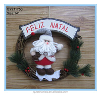 Custom Cheap Plush Santa Standing On Decorative Rattan Christmas Wreath
