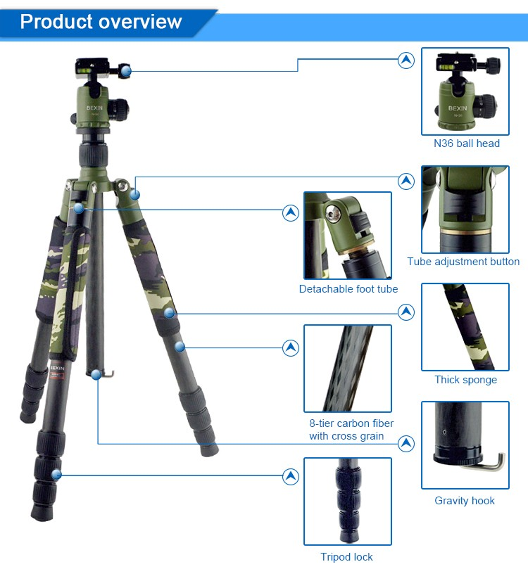 High quality photographic equipment professional carbon fibre flexible dslr SLR camera tripod studio tripode triopo for video