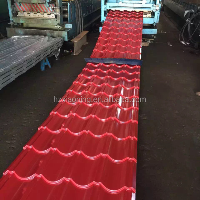 Red aluminium corrugated roofing tile