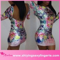 Wholesale long sleeve colorful print cut out back sexy girl tight mini dress