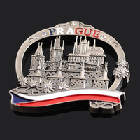 Metal custom PRAGUE souvenir fridge magnet in antique finished