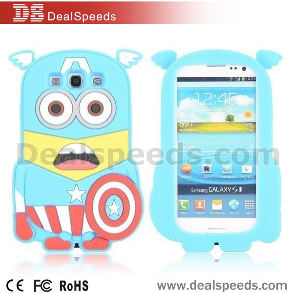 Cute 3D Captain America Style Soft Silicone Case for Samsung Galaxy S3 I9300(Blue)