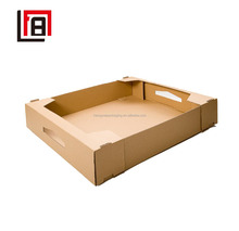 Kraft Shipping Protective Corrugated Cartons Books/ Files/ Documents Storage Box with Die-cutting Handle