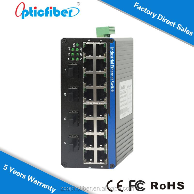 Unmanaged Din Rail Mount Switches, 16 port 10/100Mbps RJ45 and 4 1000Mbps SFP Slot, Industrial Ethernet Switch