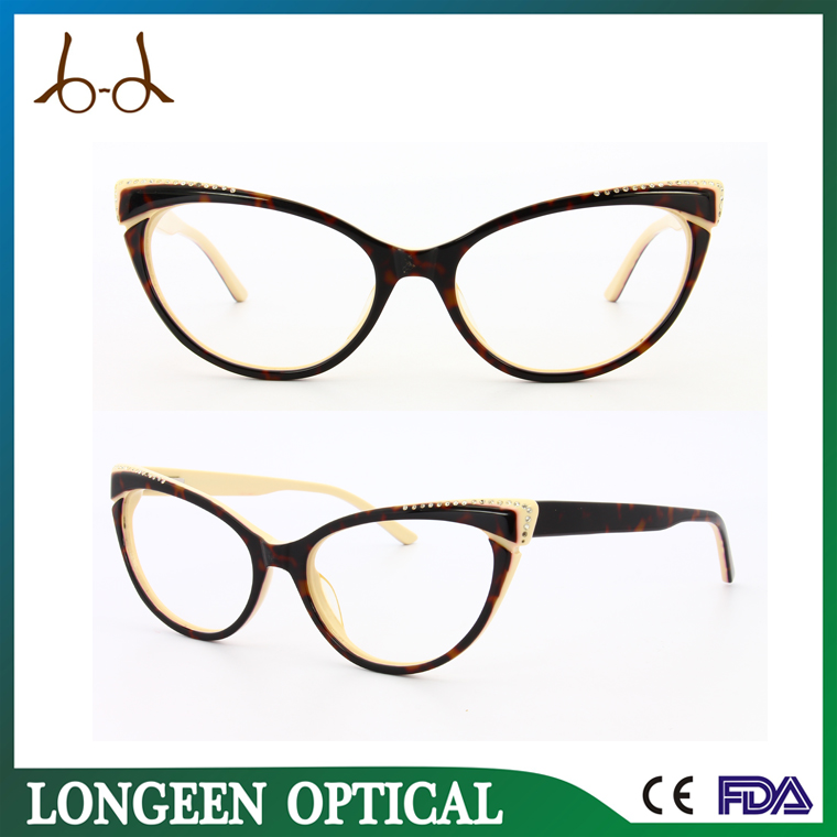 G2509 C1031 fashion fox eye new design latest glasses frames for girls