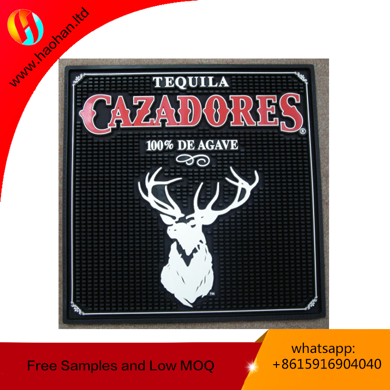 Spill PVC beer mat square bar runner free sample promtional customized printing drink rail mat