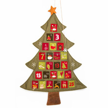 New design Christmas tree Decorated Fabric Calendar Wholesale linen Christmas Advent Calendar For Christmas Decoration