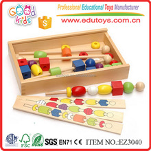 High Quality Wooden Shape Beads Intelligence Toys with Box for Kids Chinese Factory