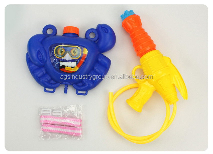 Eco-friendly meterial blue and yellow animal shape water gun toys with crab water tank