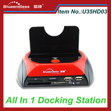 Multi Card Reader U35HD03 Plastic Case 2 USB Hub SATA HDD All In One USB 2.0 Docking Station
